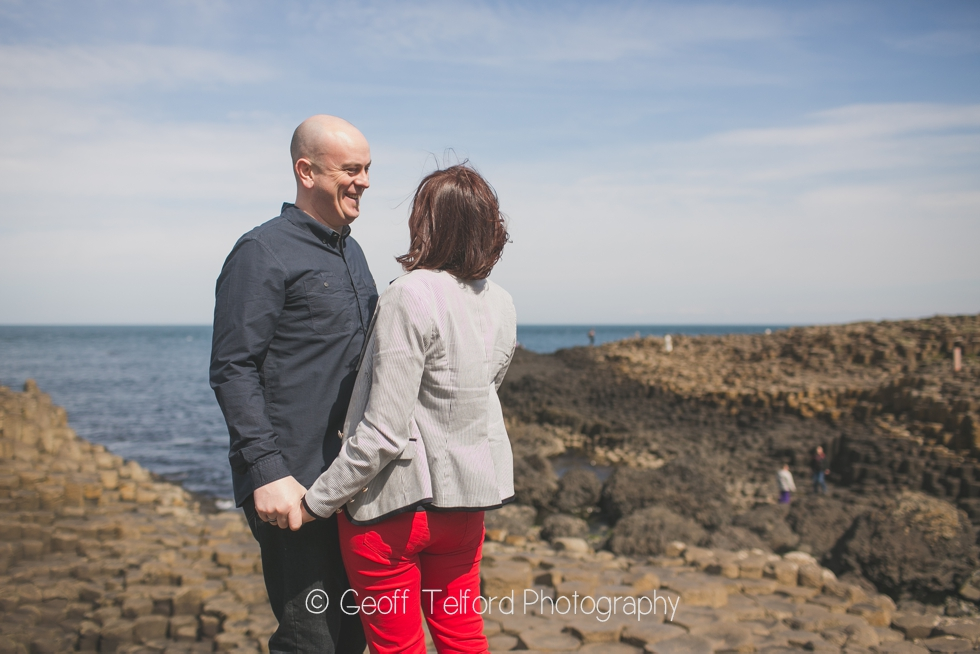 Stunning backdrop at The Giants Causeway - Engagement Photography in Northern Ireland